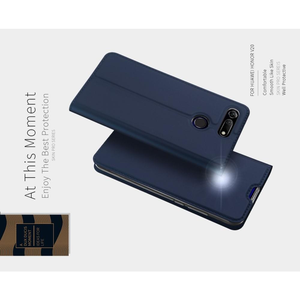 Тонкий Флип Чехол Книжка с Скрытым Магнитом и Отделением для Карты для Huawei Honor View 20 (V20) Синий