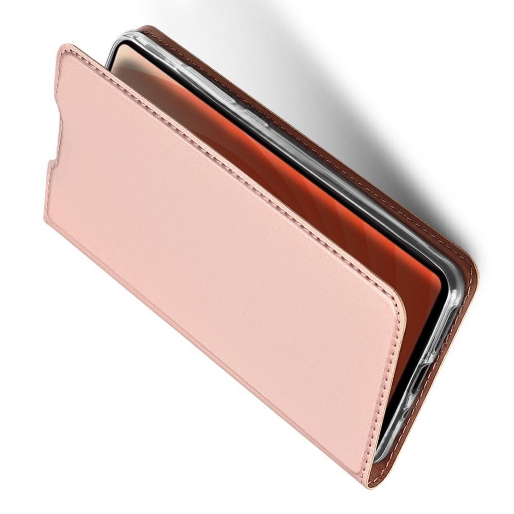 Тонкий Флип Чехол Книжка с Скрытым Магнитом и Отделением для Карты для Huawei Mate 20 Розовое Золото