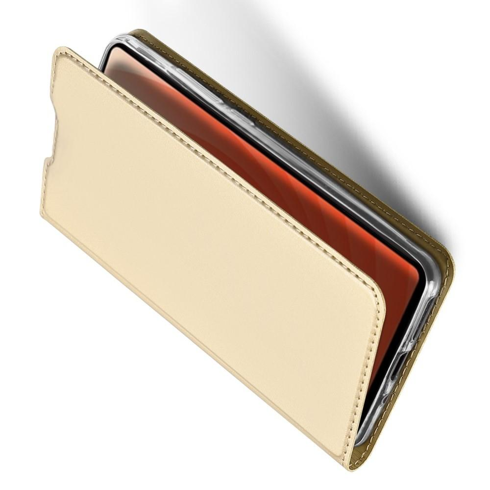 Тонкий Флип Чехол Книжка с Скрытым Магнитом и Отделением для Карты для Huawei Mate 20 Золотой