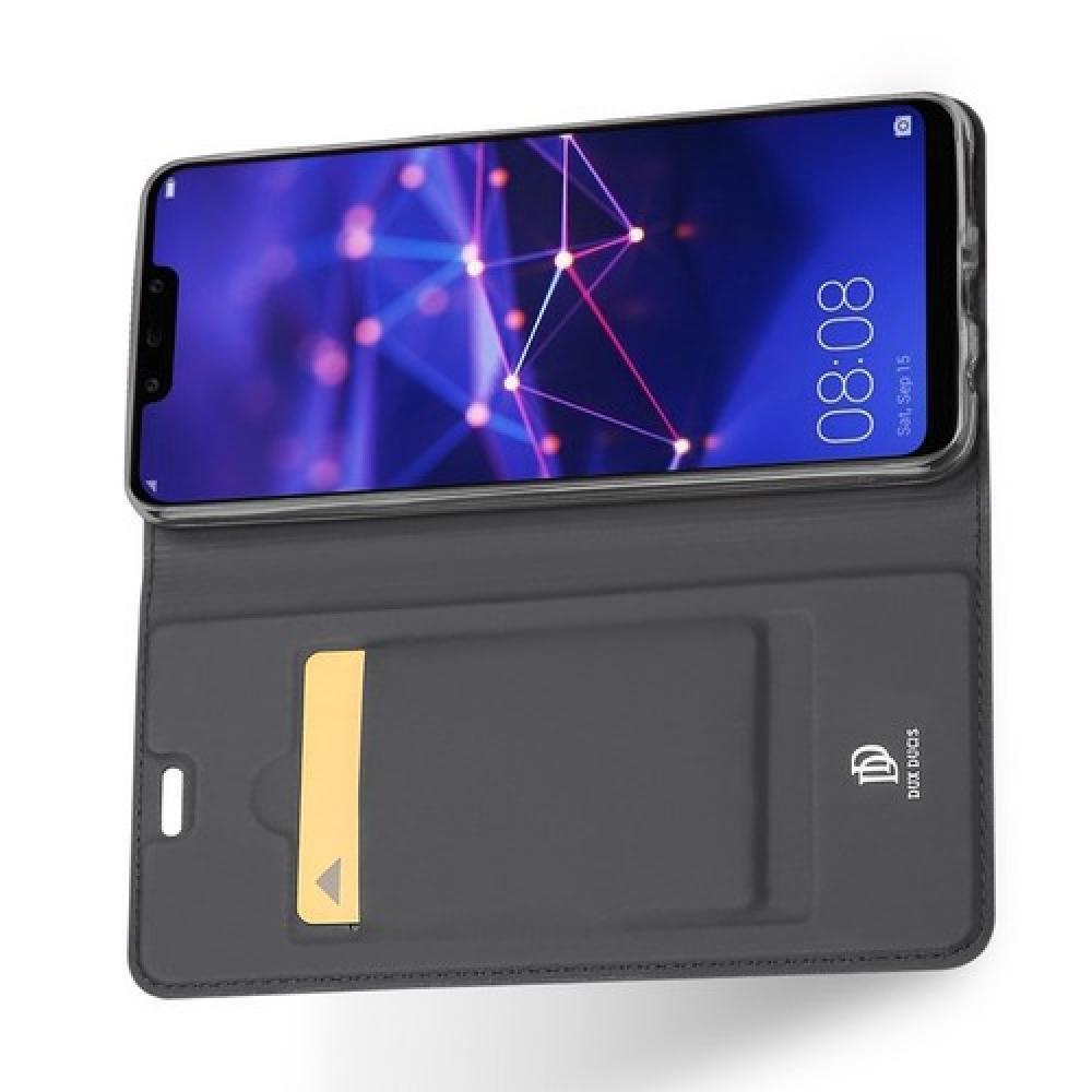 Тонкий Флип Чехол Книжка с Скрытым Магнитом и Отделением для Карты для Huawei Mate 20 Lite Черный
