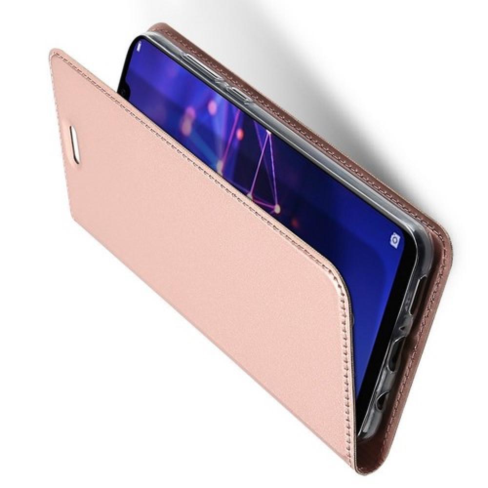 Тонкий Флип Чехол Книжка с Скрытым Магнитом и Отделением для Карты для Huawei Mate 20 Lite Розовое Золото