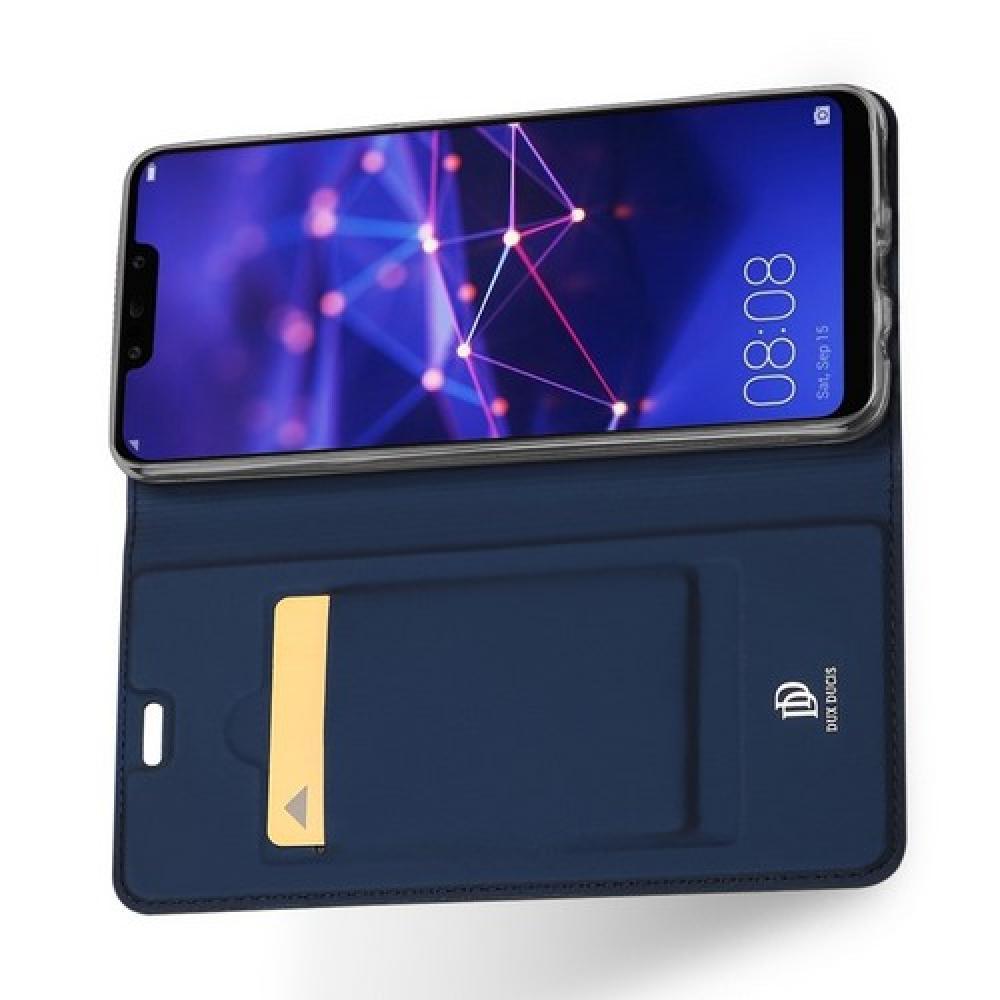 Тонкий Флип Чехол Книжка с Скрытым Магнитом и Отделением для Карты для Huawei Mate 20 Lite Синий