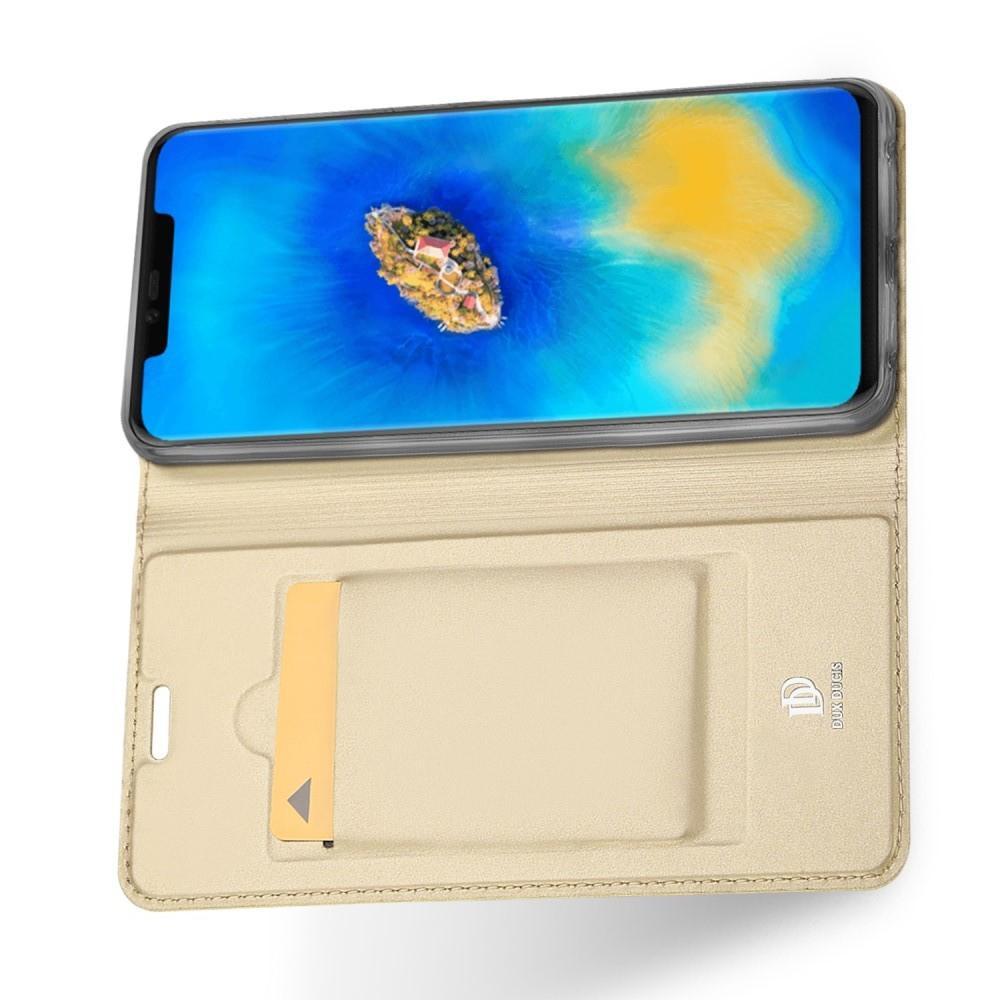 Тонкий Флип Чехол Книжка с Скрытым Магнитом и Отделением для Карты для Huawei Mate 20 Pro Золотой