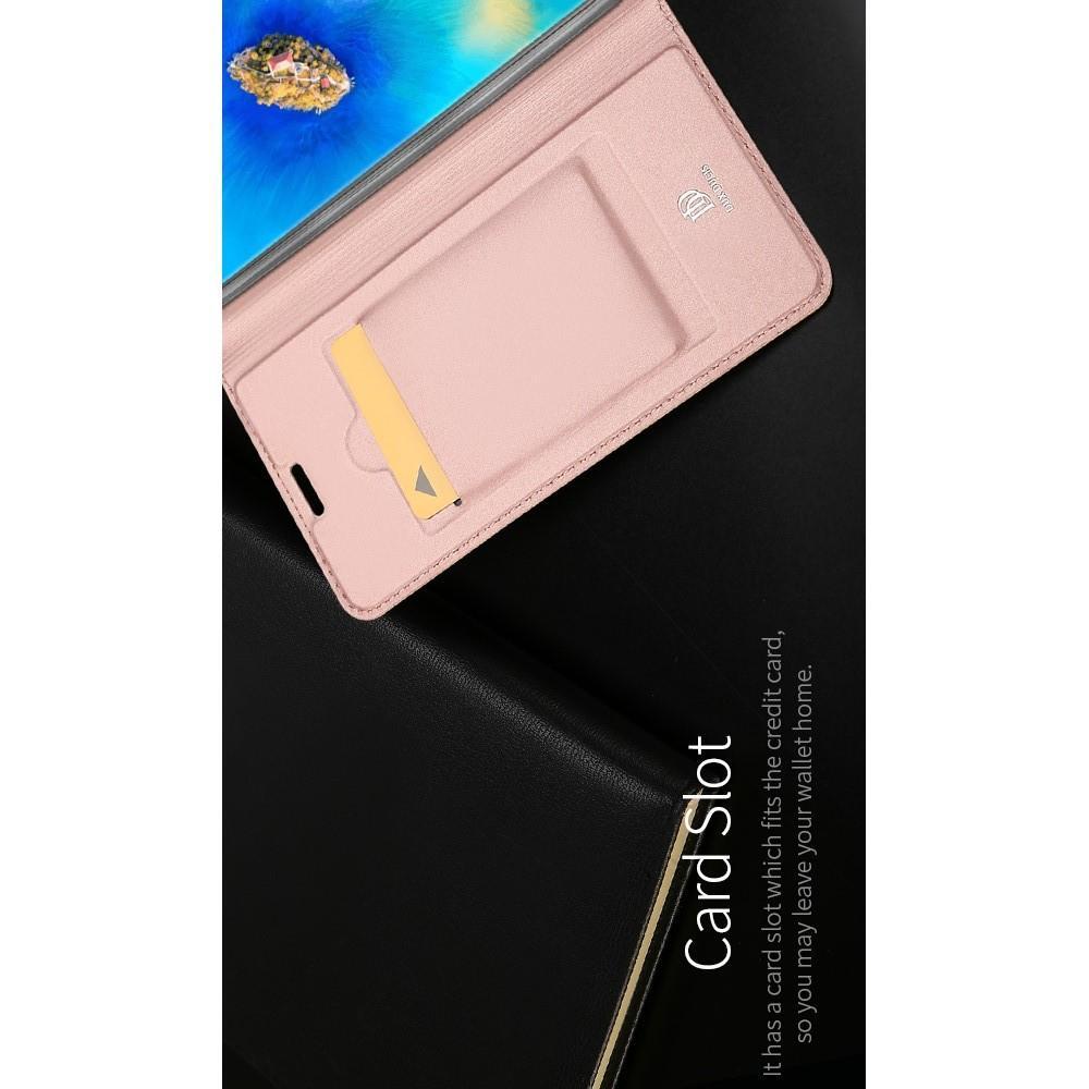 Тонкий Флип Чехол Книжка с Скрытым Магнитом и Отделением для Карты для Huawei Mate 20 Pro Розовое Золото