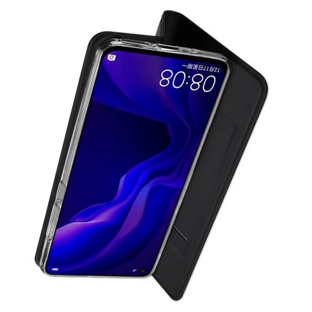 Тонкий Флип Чехол Книжка с Скрытым Магнитом и Отделением для Карты для Huawei Nova 4 Черный