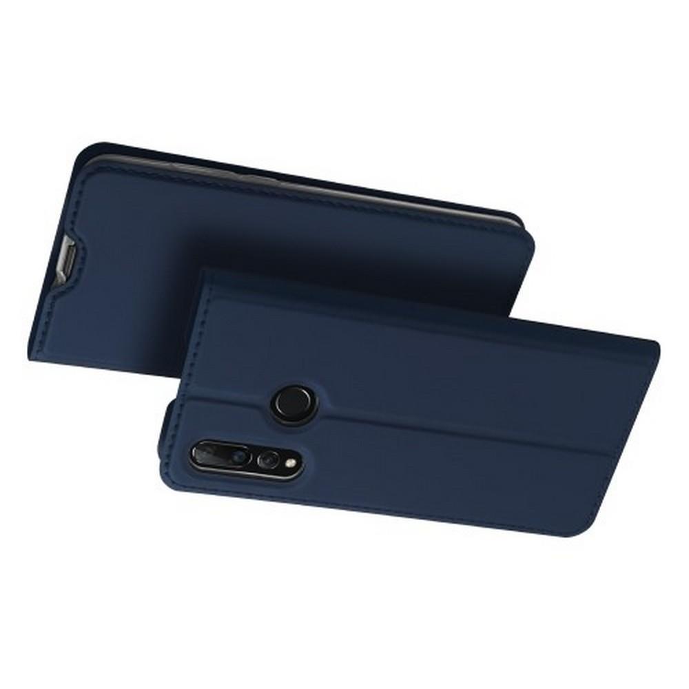 Тонкий Флип Чехол Книжка с Скрытым Магнитом и Отделением для Карты для Huawei Nova 4 Синий