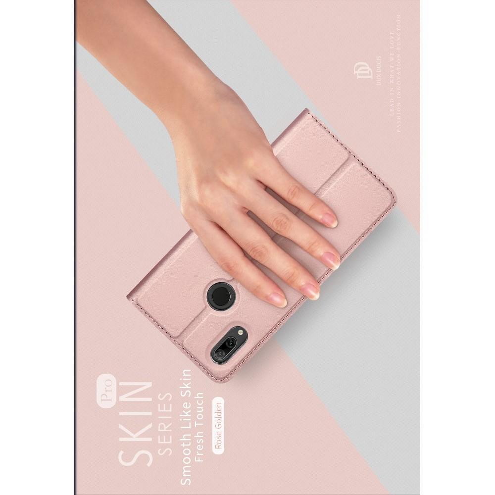 Тонкий Флип Чехол Книжка с Скрытым Магнитом и Отделением для Карты для Huawei P Smart 2019 Розовое Золото