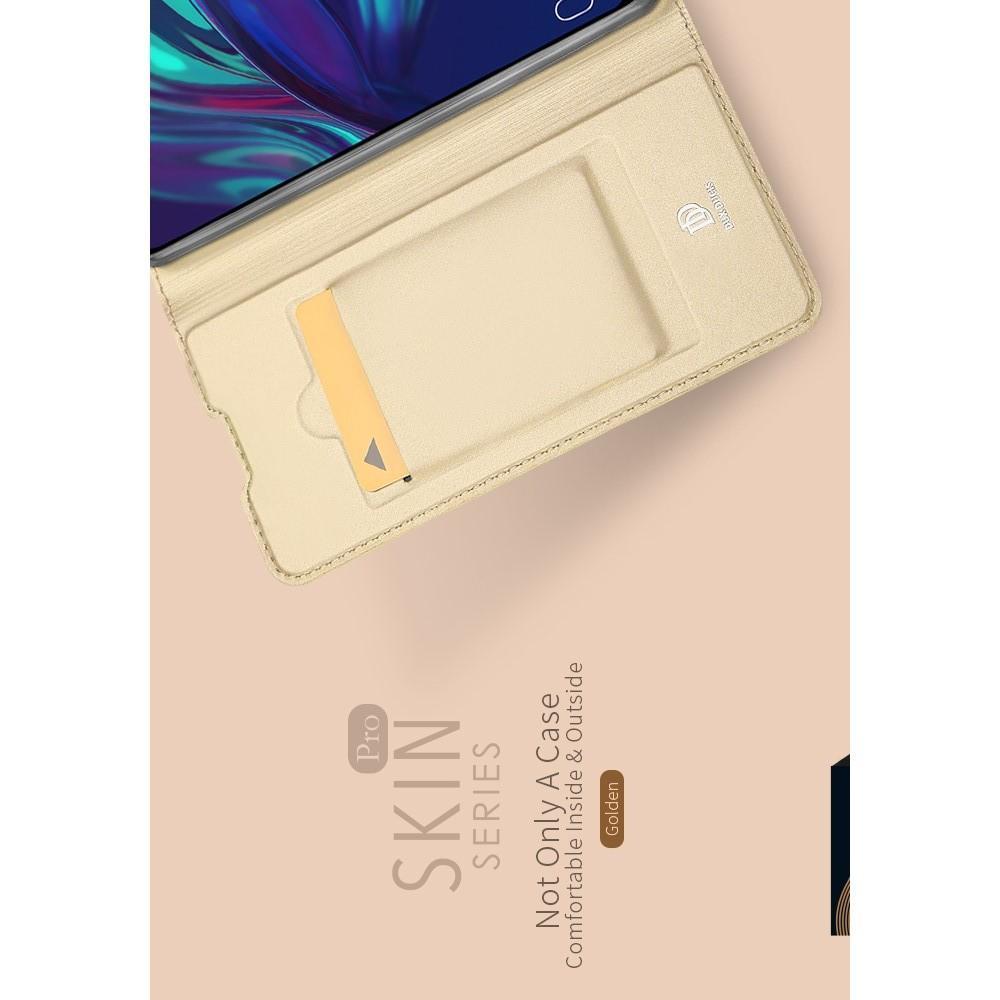 Тонкий Флип Чехол Книжка с Скрытым Магнитом и Отделением для Карты для Huawei P Smart 2019 Золотой