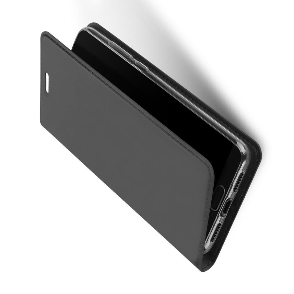 Тонкий Флип Чехол Книжка с Скрытым Магнитом и Отделением для Карты для Huawei P20 Черный