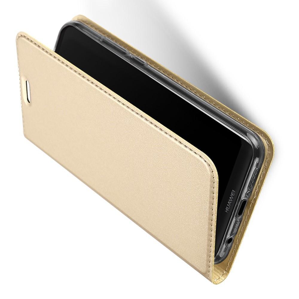 Тонкий Флип Чехол Книжка с Скрытым Магнитом и Отделением для Карты для Huawei P20 lite Золотой
