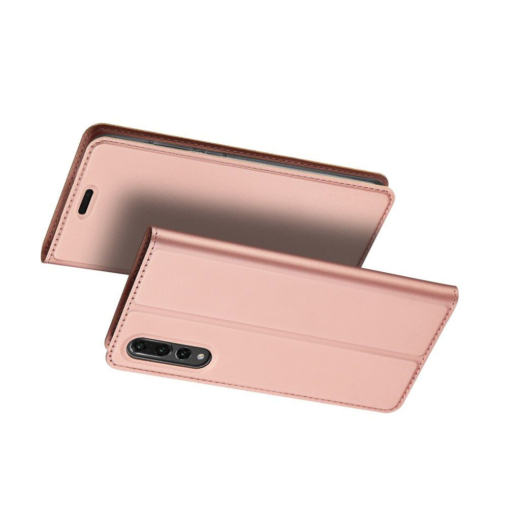 Тонкий Флип Чехол Книжка с Скрытым Магнитом и Отделением для Карты для Huawei P20 Pro Розовое Золото