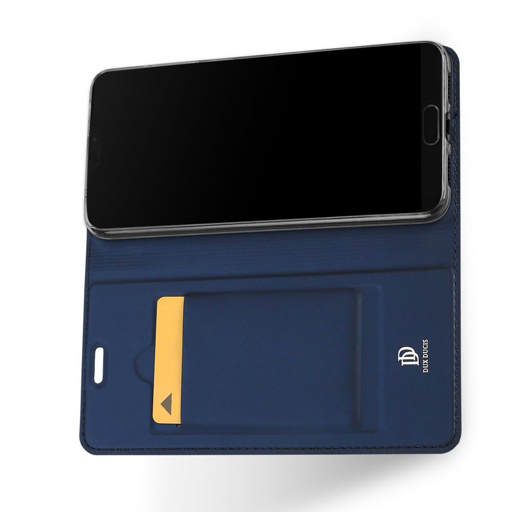 Тонкий Флип Чехол Книжка с Скрытым Магнитом и Отделением для Карты для Huawei P20 Pro Синий