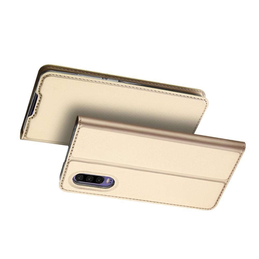 Тонкий Флип Чехол Книжка с Скрытым Магнитом и Отделением для Карты для Huawei P30 Золотой