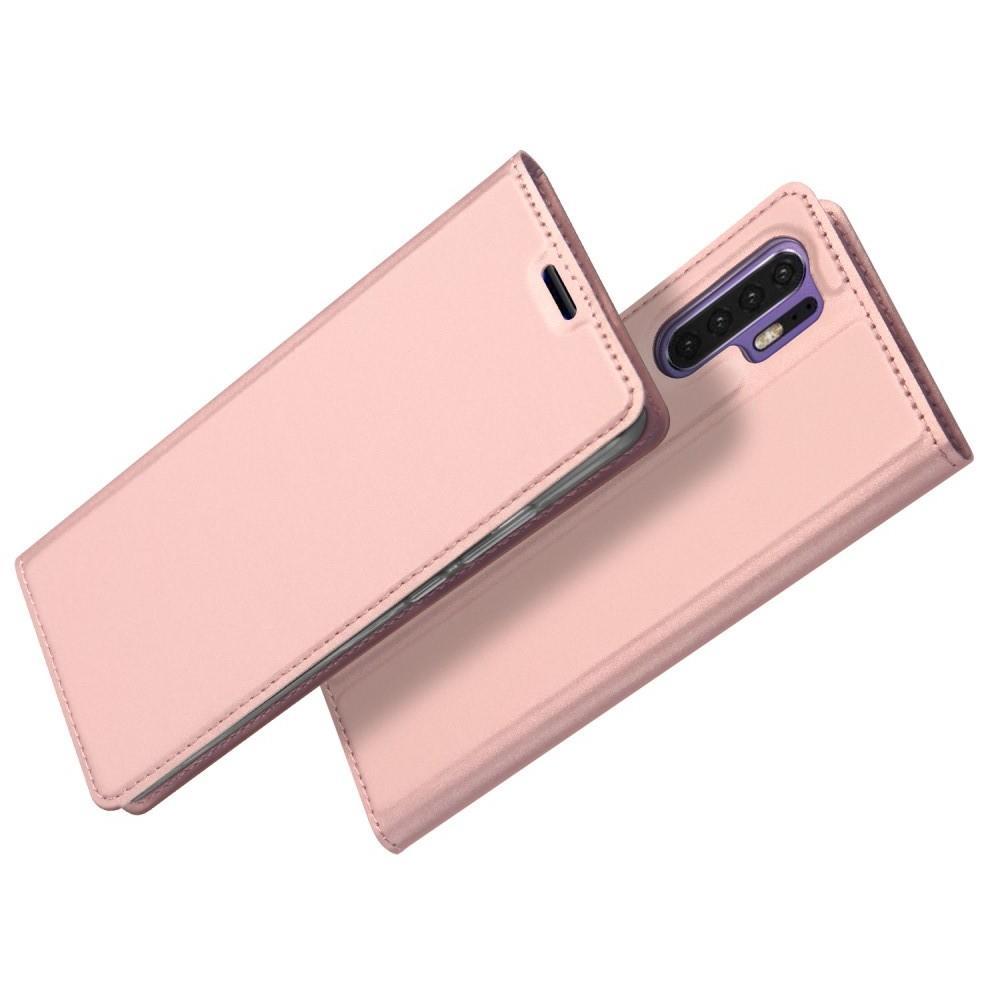 Тонкий Флип Чехол Книжка с Скрытым Магнитом и Отделением для Карты для Huawei P30 Pro Розовое Золото
