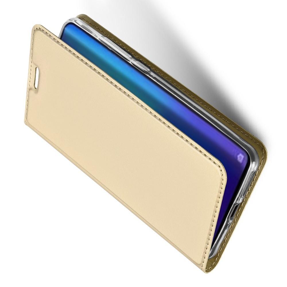 Тонкий Флип Чехол Книжка с Скрытым Магнитом и Отделением для Карты для Huawei P30 Pro Золотой