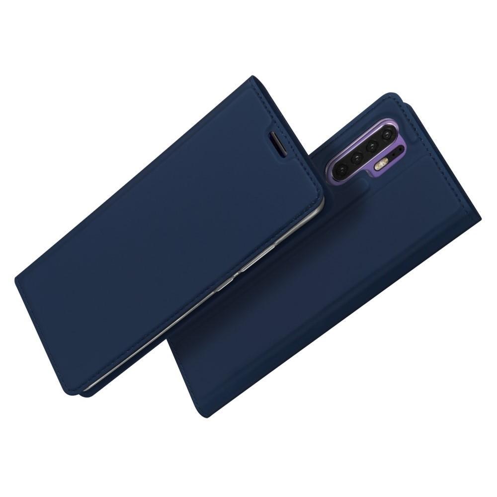 Тонкий Флип Чехол Книжка с Скрытым Магнитом и Отделением для Карты для Huawei P30 Pro Синий