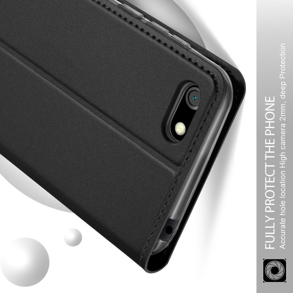 Тонкий Флип Чехол Книжка с Скрытым Магнитом и Отделением для Карты для Huawei Y5 2018 / Y5 Prime 2018 / Honor 7A Черный
