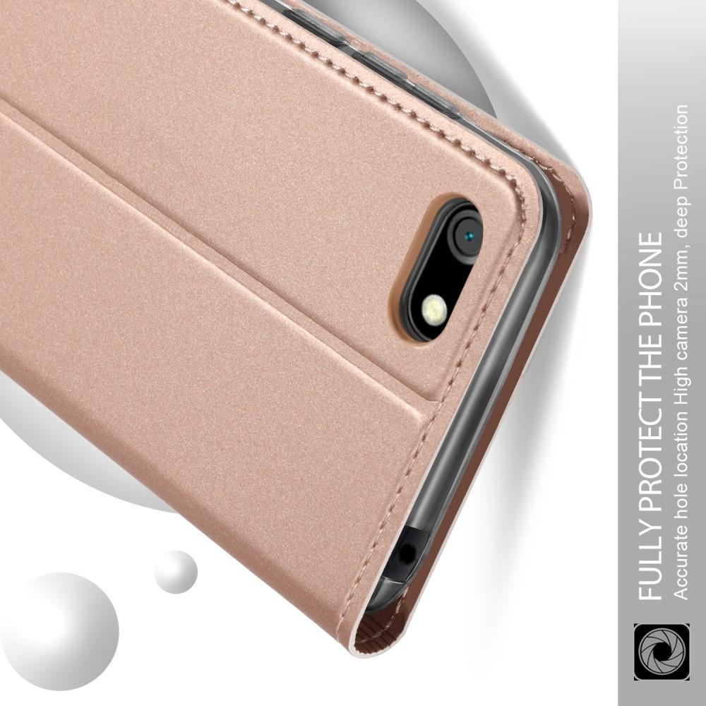 Тонкий Флип Чехол Книжка с Скрытым Магнитом и Отделением для Карты для Huawei Y5 2018 / Y5 Prime 2018 / Honor 7A Розовое Золото