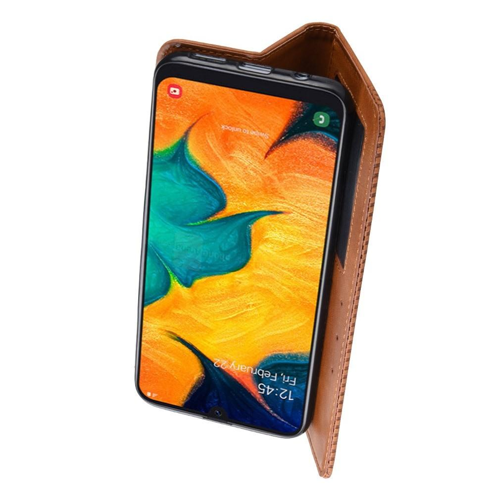 Тонкий Флип Чехол Книжка с Скрытым Магнитом и Отделением для Карты для Samsung Galaxy A30 / A20 Коричневый