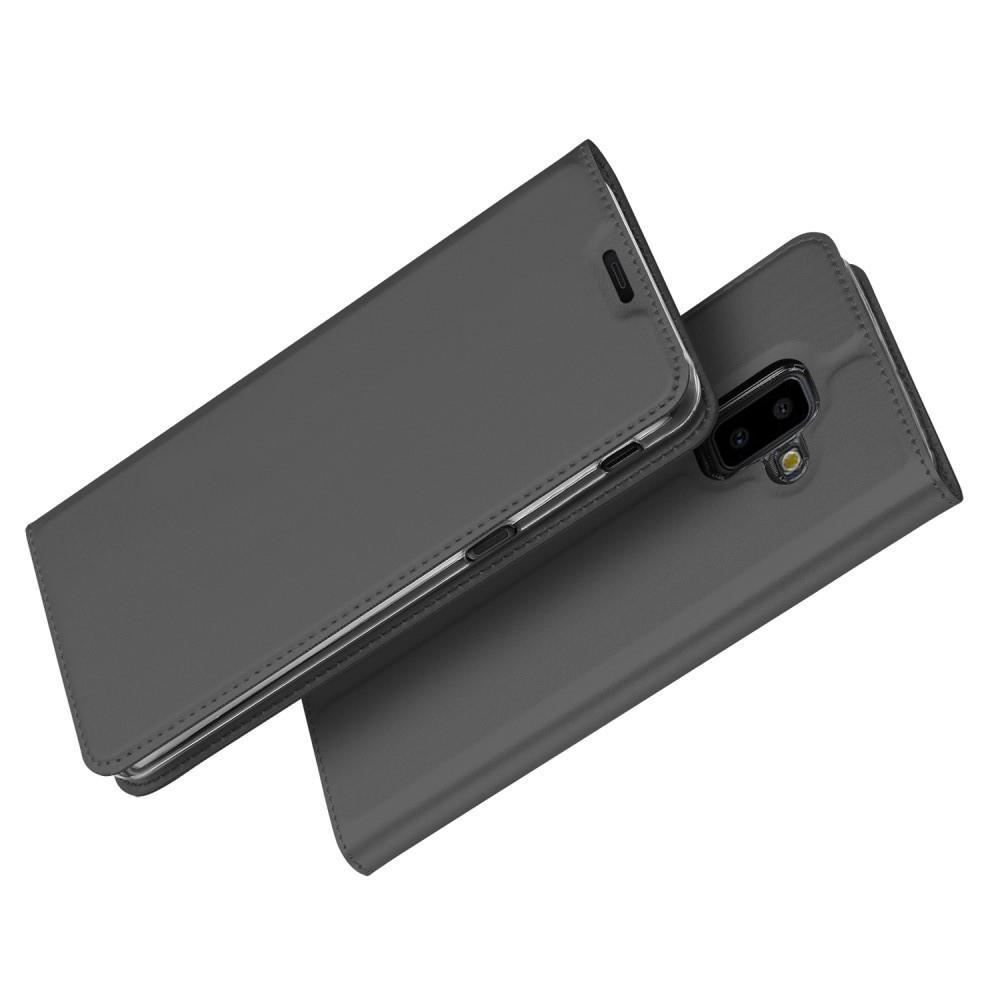 Тонкий Флип Чехол Книжка с Скрытым Магнитом и Отделением для Карты для Samsung Galaxy J6+ 2018 SM-J610F Черный