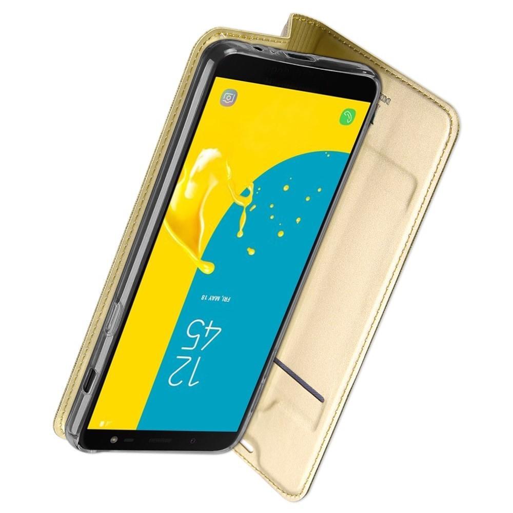 Тонкий Флип Чехол Книжка с Скрытым Магнитом и Отделением для Карты для Samsung Galaxy J6 SM-J600 Золотой