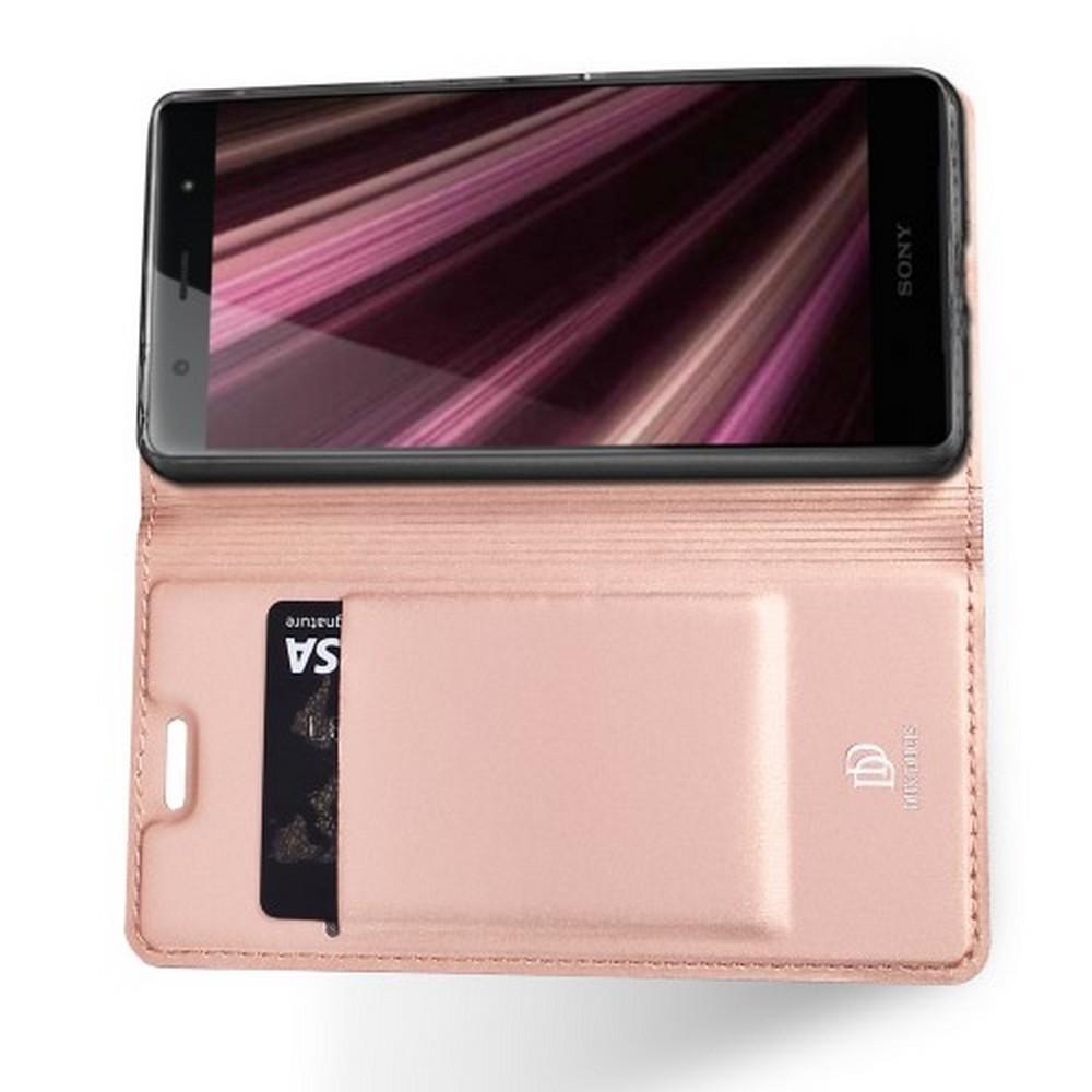 Тонкий Флип Чехол Книжка с Скрытым Магнитом и Отделением для Карты для Sony Xperia XZ4 Compact Розовое Золото