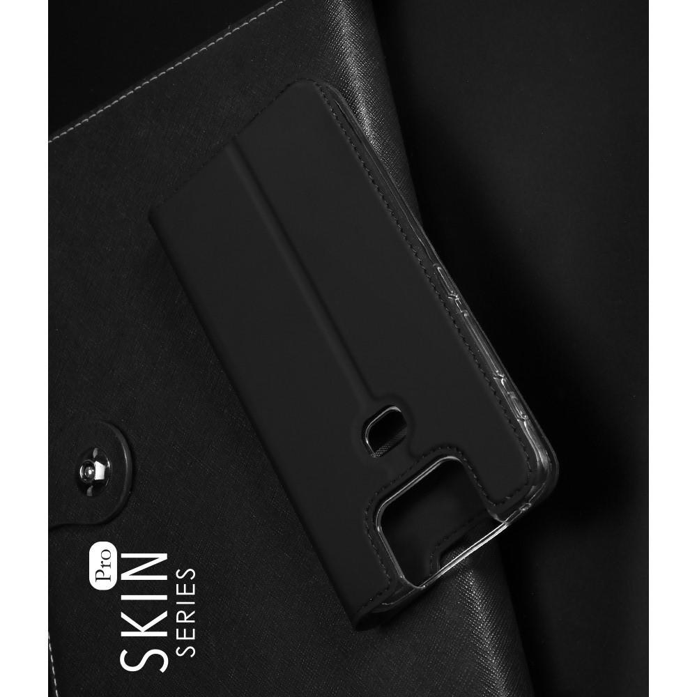 Тонкий Флип Чехол Книжка с Скрытым Магнитом и Отделением для Карты для Asus Zenfone 6 ZS630KL Черный