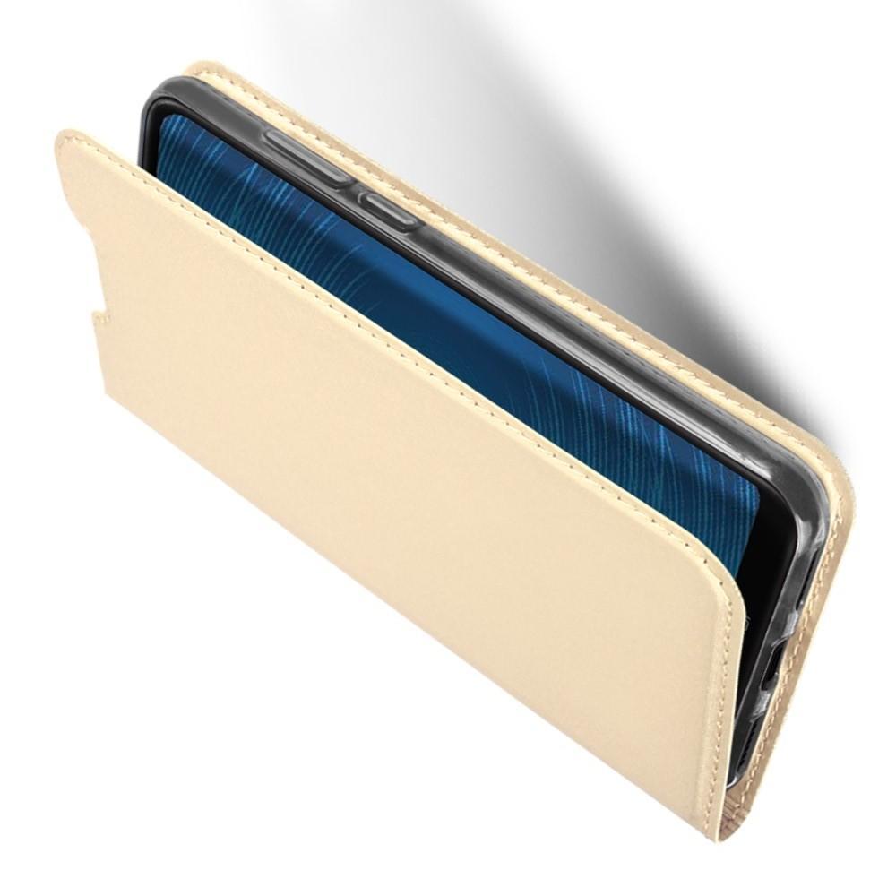Тонкий Флип Чехол Книжка с Скрытым Магнитом и Отделением для Карты для Huawei Honor 8A Розовое Золото