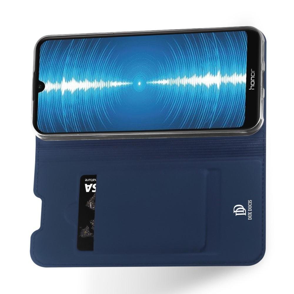 Тонкий Флип Чехол Книжка с Скрытым Магнитом и Отделением для Карты для Huawei Honor 8A Синий