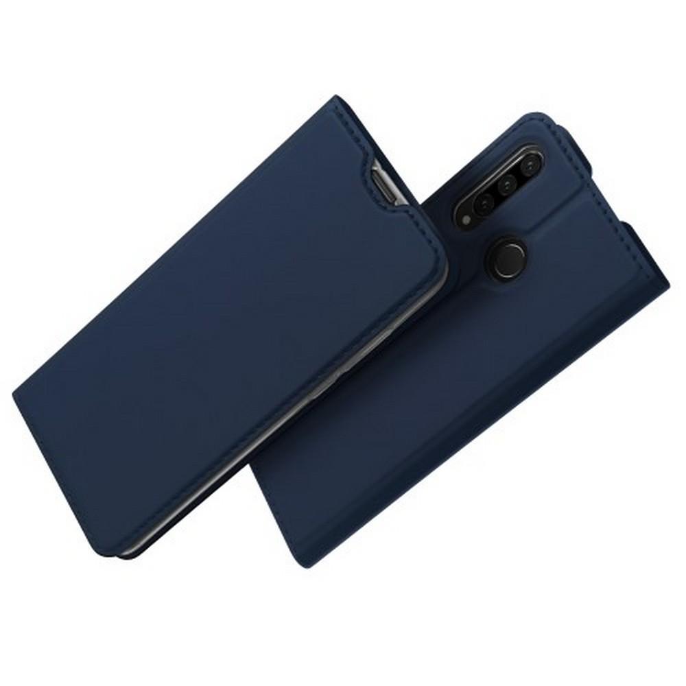 Тонкий Флип Чехол Книжка с Скрытым Магнитом и Отделением для Карты для Huawei P30 Lite Синий