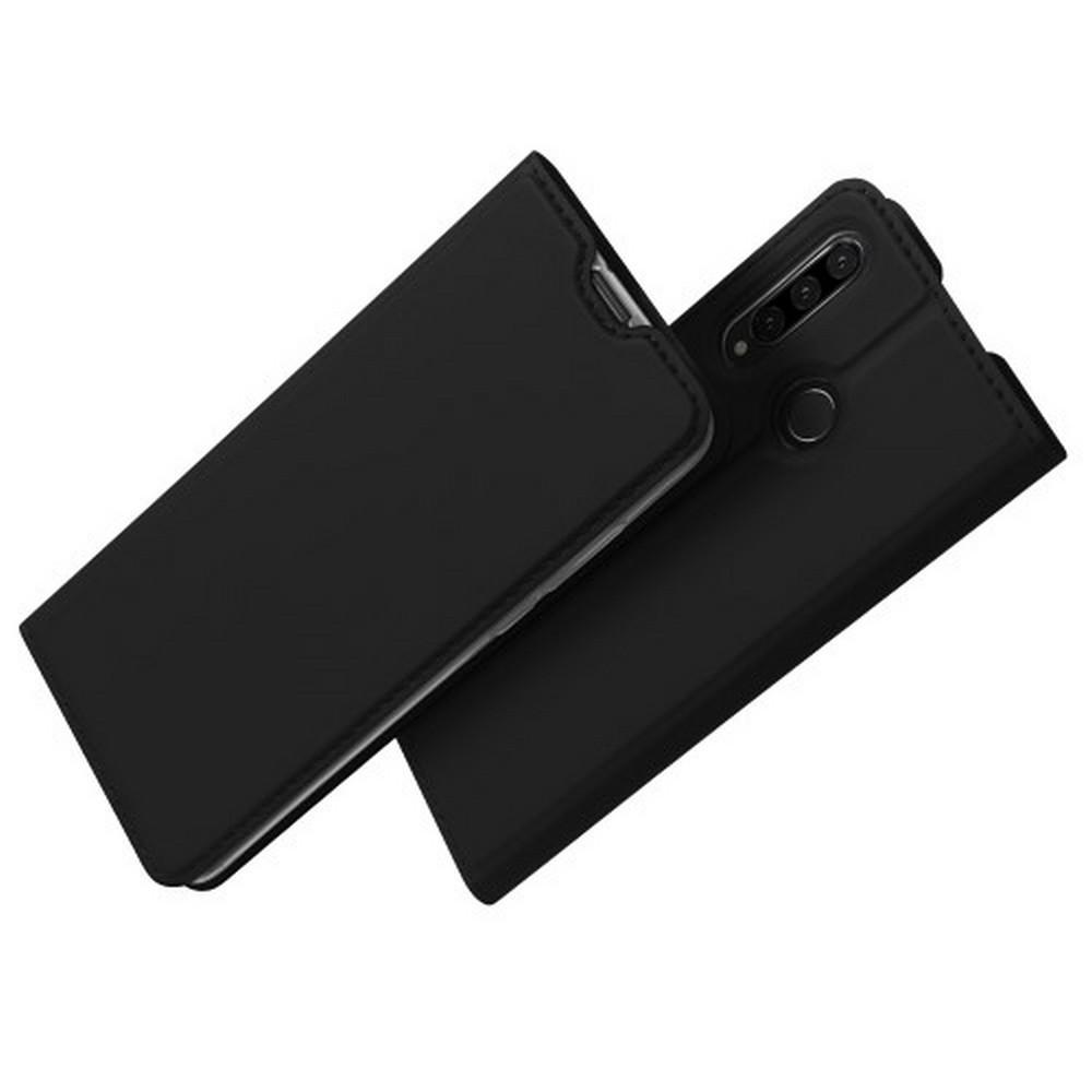 Тонкий Флип Чехол Книжка с Скрытым Магнитом и Отделением для Карты для Huawei P30 Lite Черный