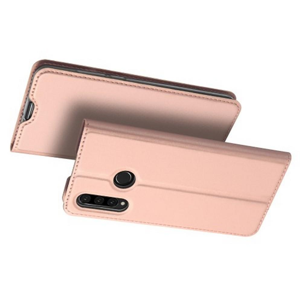 Тонкий Флип Чехол Книжка с Скрытым Магнитом и Отделением для Карты для Huawei P30 Lite Розовое Золото