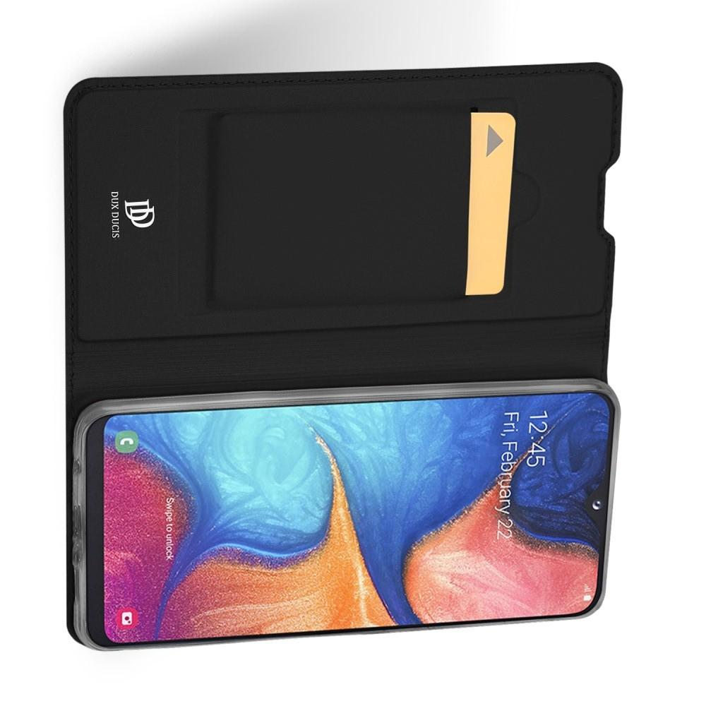 Тонкий Флип Чехол Книжка с Скрытым Магнитом и Отделением для Карты для Samsung Galaxy A20e Черный