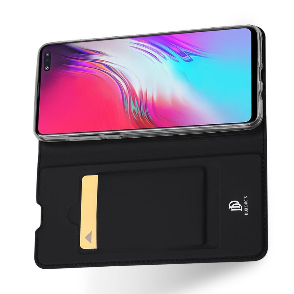 Тонкий Флип Чехол Книжка с Скрытым Магнитом и Отделением для Карты для Samsung Galaxy S10 5G Черный
