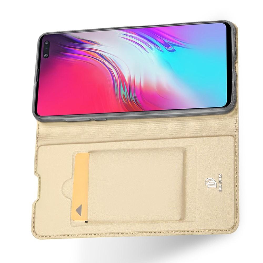 Тонкий Флип Чехол Книжка с Скрытым Магнитом и Отделением для Карты для Samsung Galaxy S10 5G Золотой