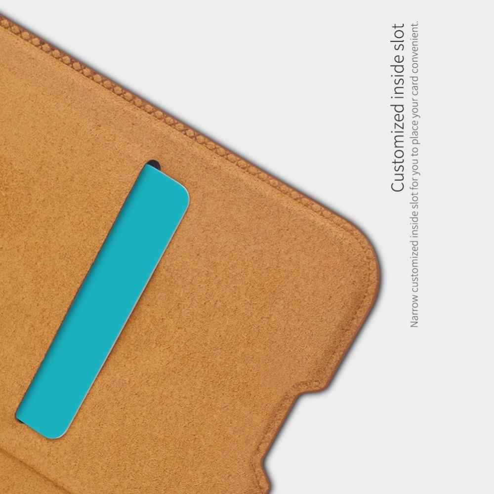 Тонкий Флип NILLKIN Qin Чехол Книжка для Huawei Honor 10 Lite Коричневый