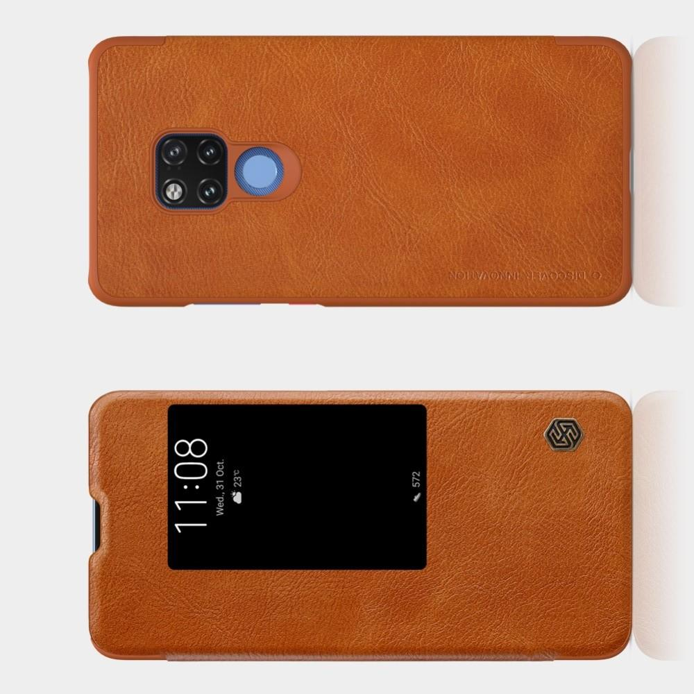 Тонкий Флип NILLKIN Qin Чехол Книжка для Huawei Mate 20 X Коричневый