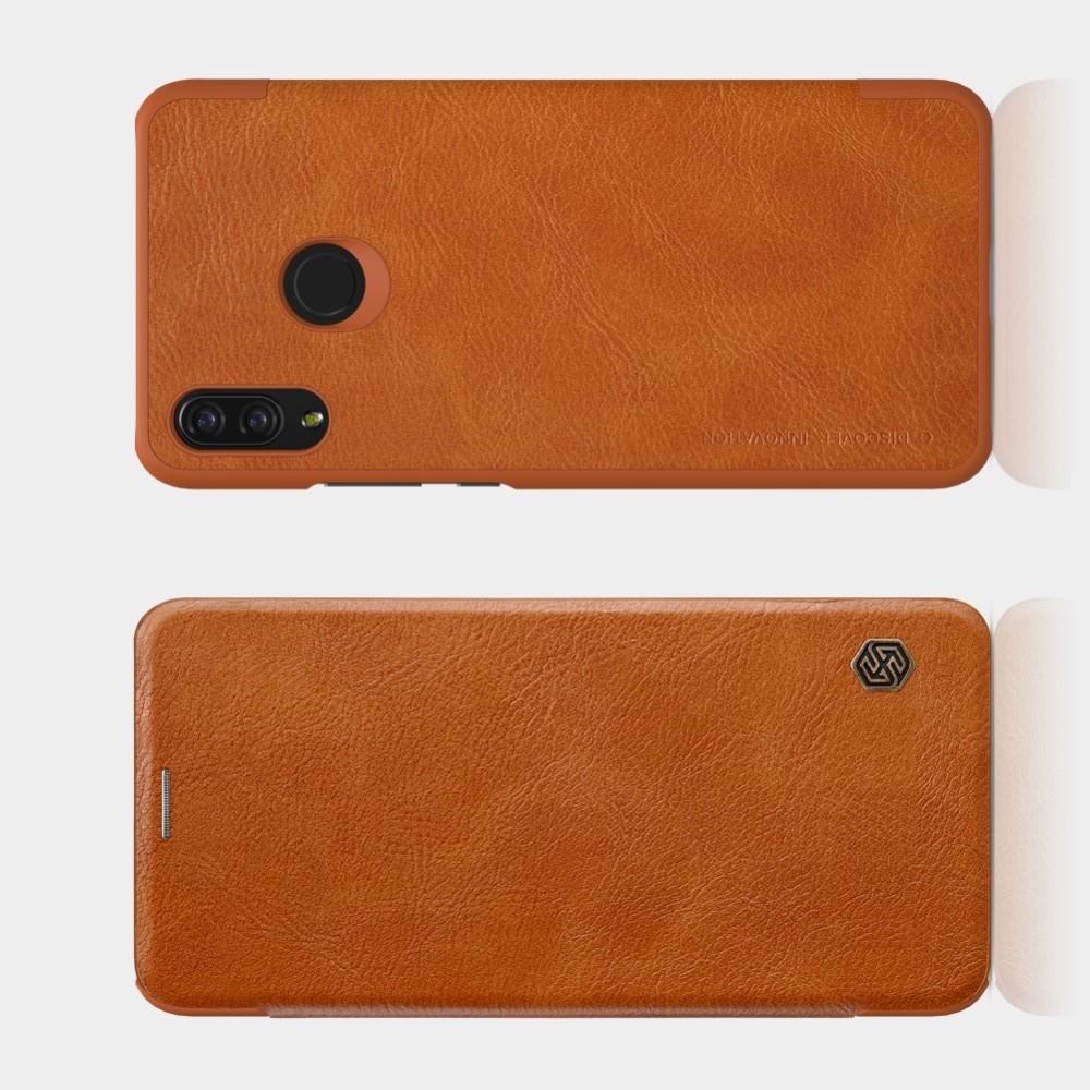 Тонкий Флип NILLKIN Qin Чехол Книжка для Huawei P smart+ / Nova 3i Коричневый