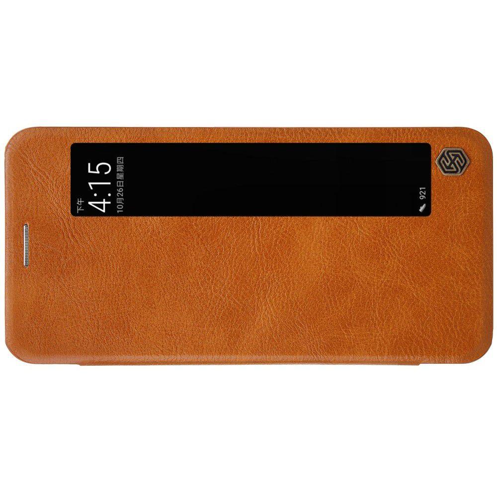 Тонкий Флип NILLKIN Qin Чехол Книжка для Huawei P20 Pro Коричневый