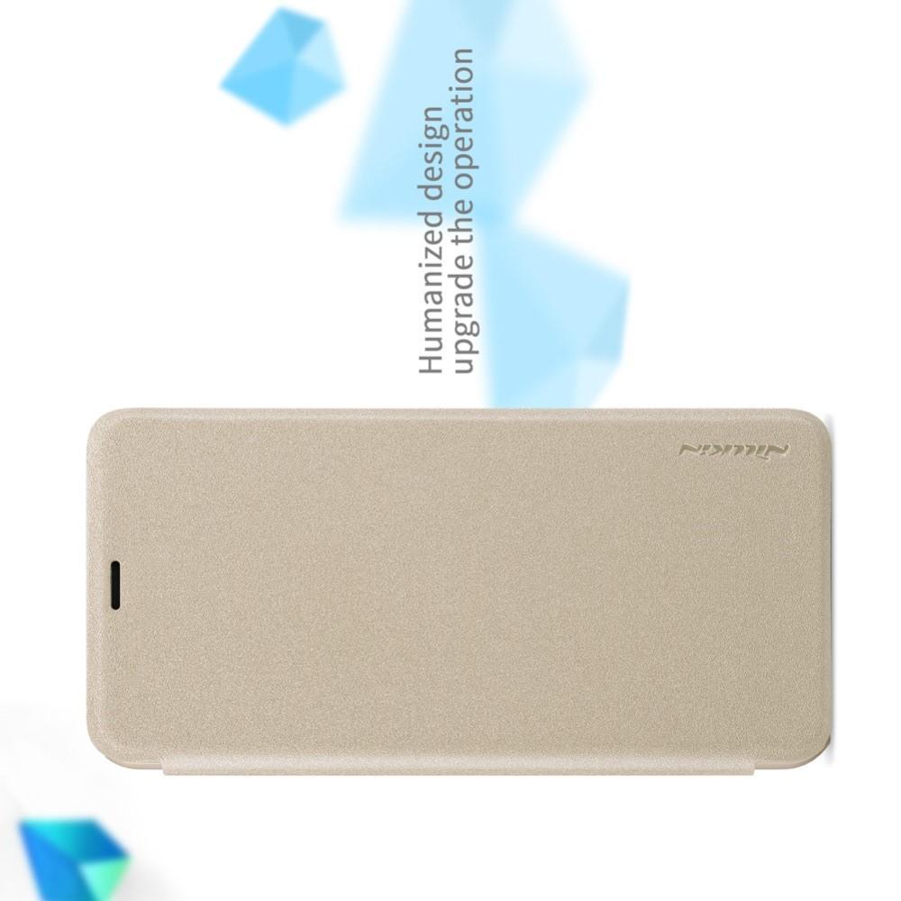 Тонкий Флип NILLKIN Sparkle Горизонтальный Боковой Чехол Книжка для Huawei Honor Play Золотой