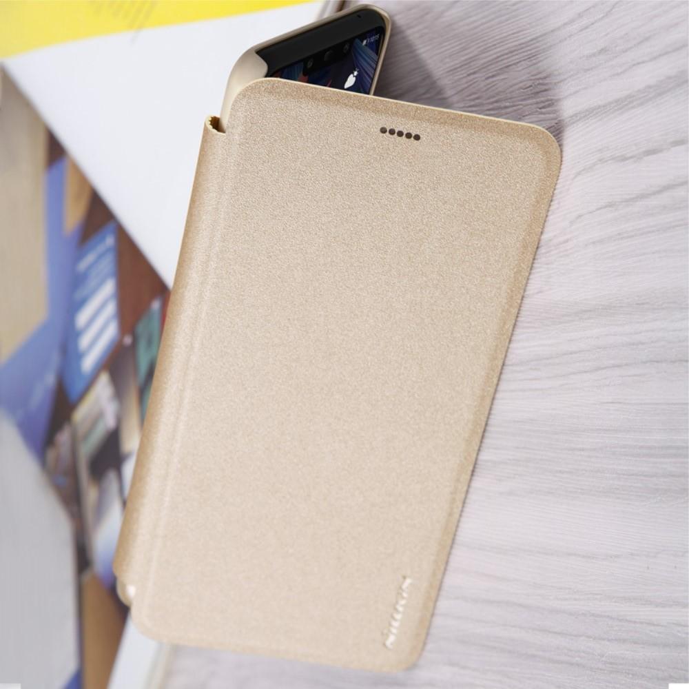 Тонкий Флип NILLKIN Sparkle Горизонтальный Боковой Чехол Книжка для Huawei Mate 20 Lite Золотой