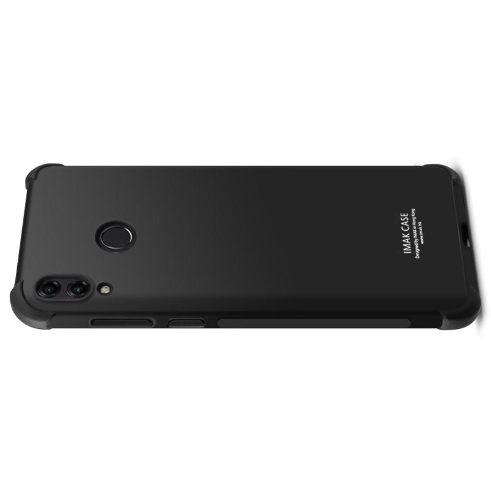 Ударопрочный бронированный IMAK чехол для Huawei Honor 8C с усиленными углами черный + защитная пленка на экран