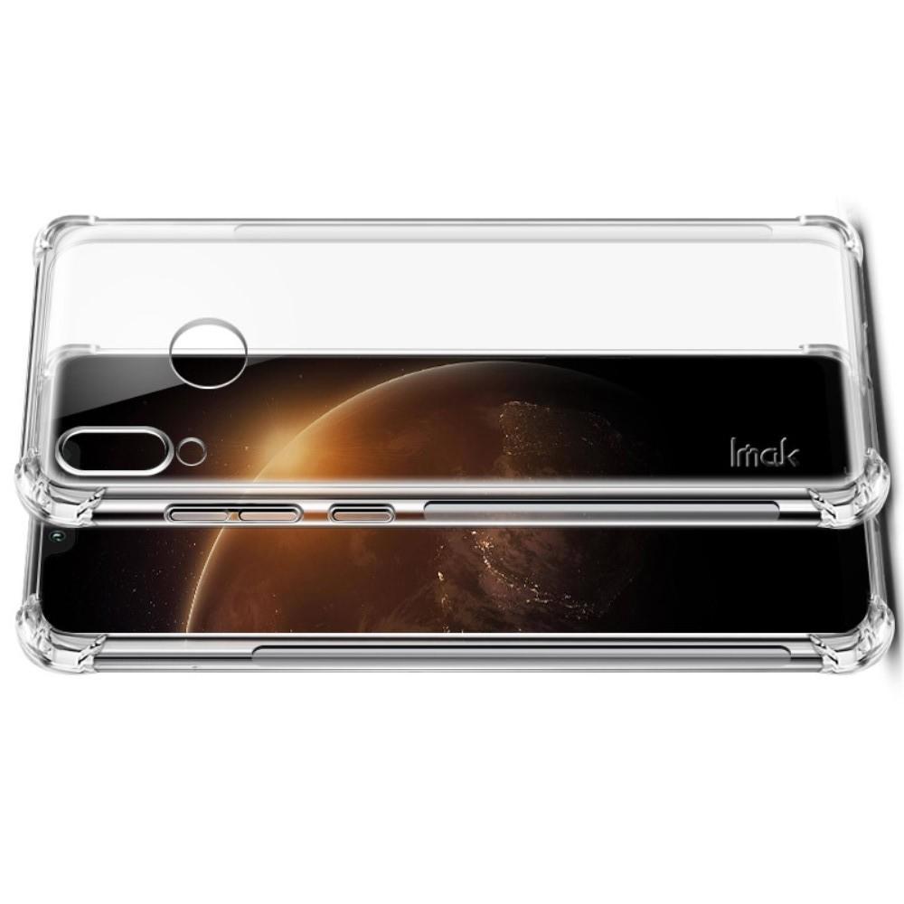 Ударопрочный бронированный IMAK чехол для Huawei Honor Play с усиленными углами прозрачный + защитная пленка на экран