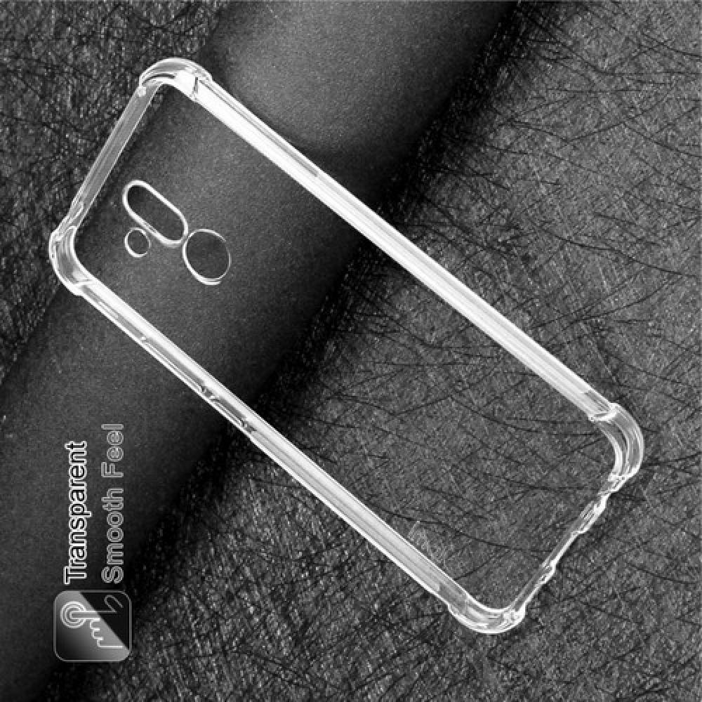 Ударопрочный бронированный IMAK чехол для Huawei Mate 20 Lite с усиленными углами прозрачный + защитная пленка на экран