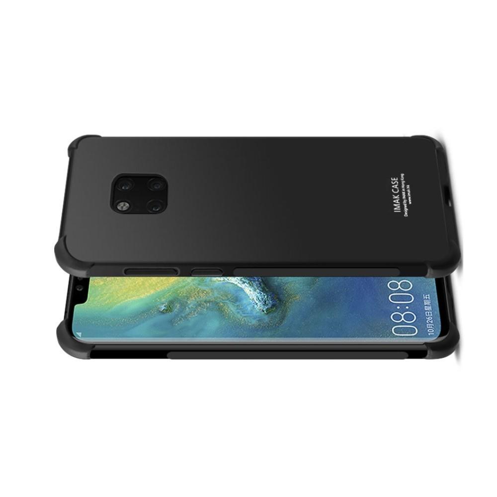Ударопрочный бронированный IMAK чехол для Huawei Mate 20 Pro с усиленными углами черный + защитная пленка на экран