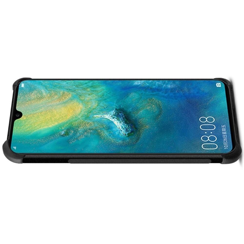 Ударопрочный бронированный IMAK чехол для Huawei Mate 20 с усиленными углами песочно-черный + защитная пленка на экран