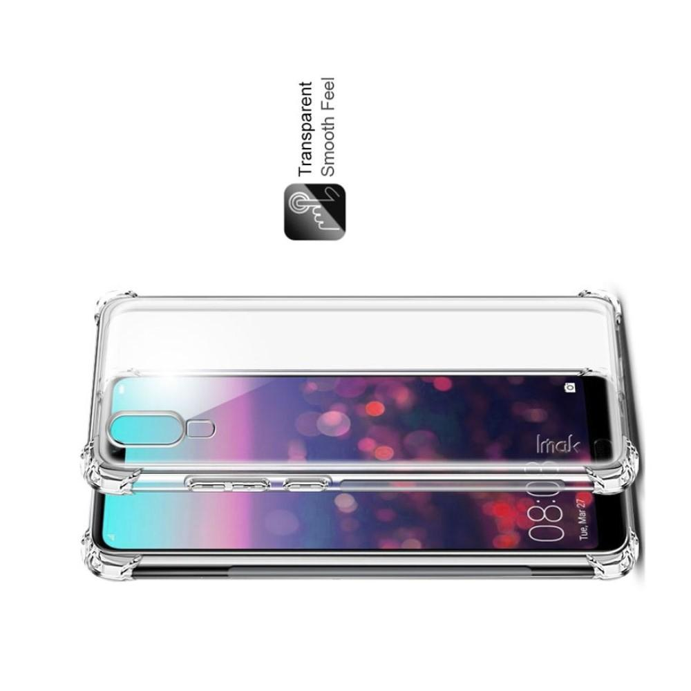 Ударопрочный бронированный IMAK чехол для Huawei P20 с усиленными углами прозрачный + защитная пленка на экран