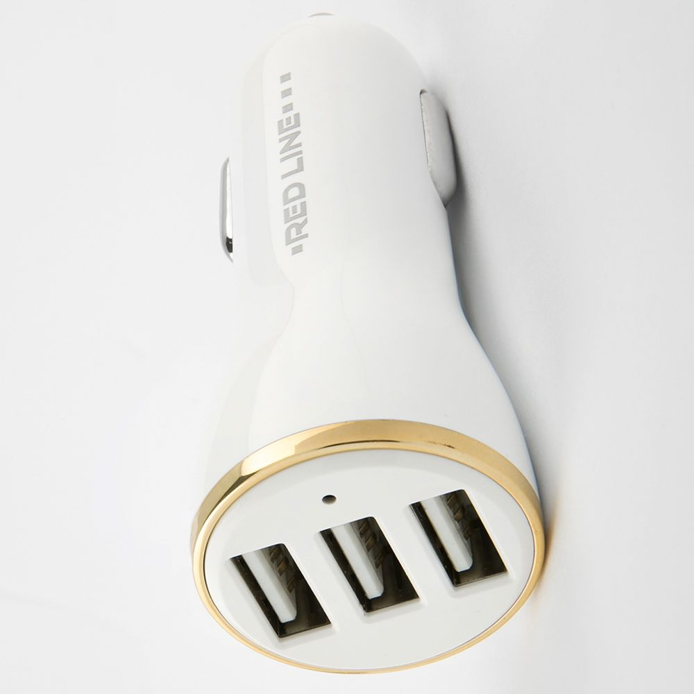 Умная быстрая автомобильная зарядка на 3 USB-порта для телефона 3.4А