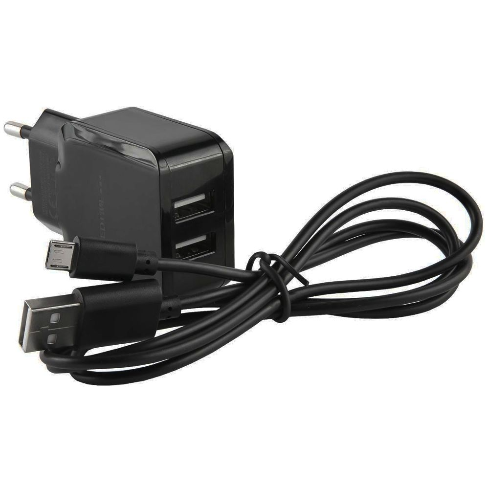 Универсальная сетевая зарядка 2 USB 2.4A с Micro USB кабелем
