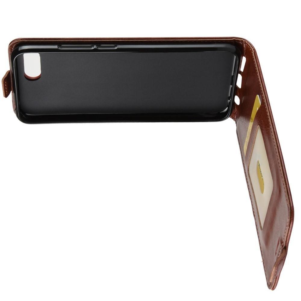 Вертикальный флип чехол книжка с откидыванием вниз для Huawei Honor 10 - Коричневый